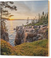 Schoodic Point Sunset Wood Print