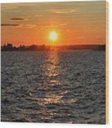 Schoodic Sunset With Island Lighthouse Wood Print