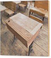 School Desks In A One Room School Building Wood Print
