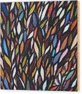 School Of Anchovies Abstract 2 Wood Print
