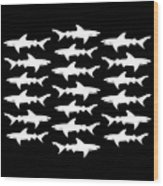 School Of Sharks Black And White Wood Print