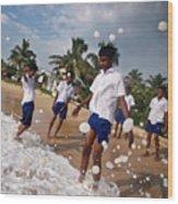 School Trip To Beach IIi Wood Print