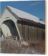 Schoolhouse Covered Bridge Wood Print
