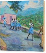 School's Out In Jamaica Wood Print
