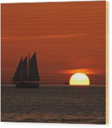 Schooner In Red Sunset Wood Print