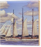 Schooner Mystic Under Sail Wood Print