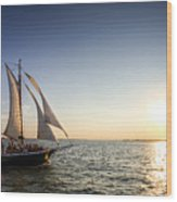 Schooner Welcome Sunset Charleston Sc Wood Print