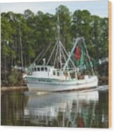 Schrimp Boat On Icw Wood Print