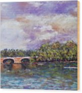 Schuylkill River Rowers Wood Print by Joyce A Guariglia