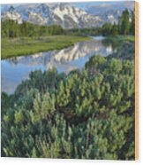 Schwabacher Landing In Grand Teton Wood Print