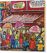 Schwartz's Deli Rainy Day Line-up Umbrella Paintings Montreal Memories April Showers Carole Spandau  Wood Print