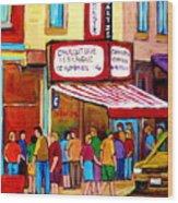 Schwartzs Hebrew Deli Montreal Streetscene Wood Print