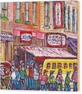 Schwartz's Smoked Meat Deli On The Main Montreal Hockey Art Scenes School Bus Painting C Spandau Art Wood Print