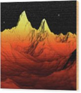 Sci Fi Mountains Landscape Wood Print