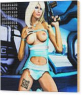 Sci-fi Topless Blonde With Gun On Spaceship Wood Print