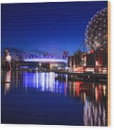 Science World And Fireworks Wood Print