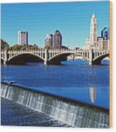 Scioto River With Waterfall Wood Print