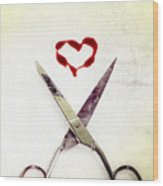 Scissors And Heart Wood Print