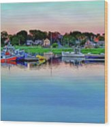 Scituate Harbor At Sunset Wood Print