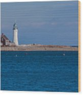 Scituate Lighthouse From Across The Harbor Wood Print