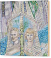Scott And Zelda In Their New York Dream Tower Wood Print