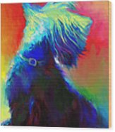 Scottish Terrier Dog Painting Wood Print by Svetlana Novikova