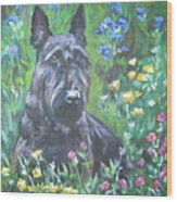 Scottish Terrier In The Garden Wood Print