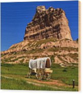 Scotts Bluff Wagon Train Panorama Wood Print