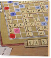 Scrabble Gesso Misplayed Wood Print