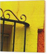 Scroll On Yellow By Michael Fitzpatrick Wood Print by Mexicolors Art Photography