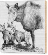Scruffy Moose Family Wood Print