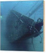 Scuba Diver Exploring  Le Voilier Shipwreck Wood Print by Sami Sarkis