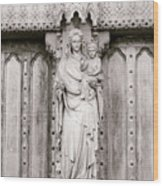 Sculpture Above North Entrance Of Westminster Abbey London Bw Wood Print