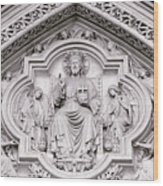 Sculpture Above North Entrance Of Westminster Abbey London Wood Print