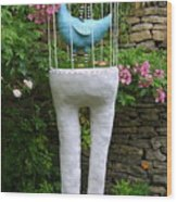 Sculpture Birds Cage And Legs Wood Print