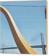 Sculpture By San Francisco Bay Bridge Wood Print