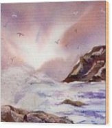 Sea And Rocks Wood Print