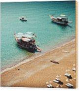 Sea Boats In The Laguna Wood Print