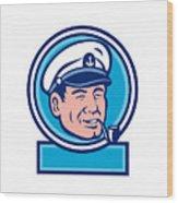 Sea Captain Smoking Pipe Circle Retro Wood Print