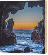 Sea Cave Sunset Wood Print