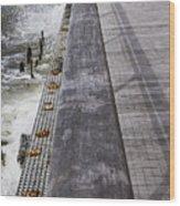 Sea Cliff Seawall Boardwalk Wood Print