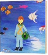 Sea Diver Wood Print