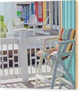 Sea Dreams Beach Chairs Wood Print
