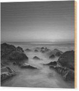 Sea Girt Nj Sunrise Version 2 Bw Wood Print