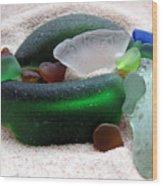 Sea Glass From Bermuda Wood Print