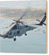 Sea Hawk Helicopter Flies Over  San Diego Wood Print