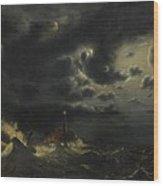 Sea In The Moonlight Wood Print