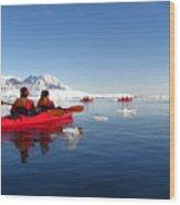 Sea Kayaking Past Icebergs Wood Print