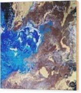 The Sea Kises The Desert Wood Print