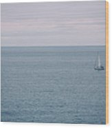 Sea Landscape With Alone Sailboat In Garda Wood Print